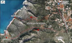 plano excursión cova talla